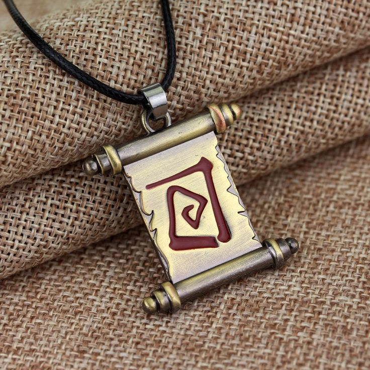 Dota 2 Town Portal Transfer Scroll Necklace Colar Vintage Dota 2 Talisman of Evasion Pudge Magical Roll Pendant Necklace