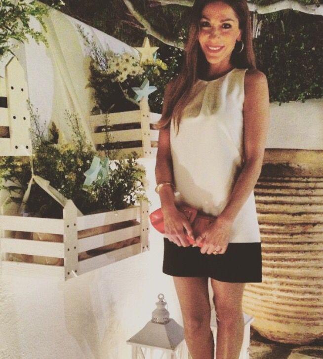Despina Vandi wearing black & white mini dress DESPINA VANDI for CHIP & CHIP www.chipandchip.gr