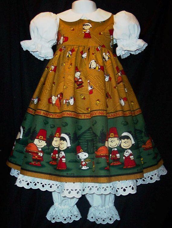 VHTF Snoopy Peanuts THANKSGIVING Border Dress Custom Size for TARA
