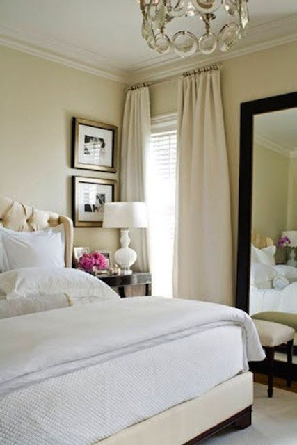 Cream & white in bedroom.  the key to mixing cream and white in decor and fashion...
