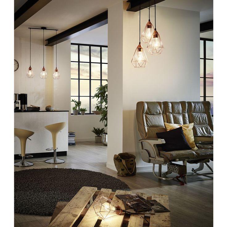 Suspension géométrique à 3 lumières en métal cuivré L79cm - Tarbes - Suspensions, Lustres-Luminaires-Salon, Salle à manger-Par pièce - Décoration intérieur - Alinea