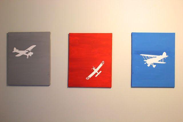 Easy DIY Airplane Art for Little Boys Room