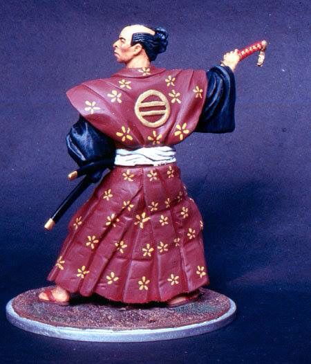 120 mm white metal figure by ademodelart, japanese samurai