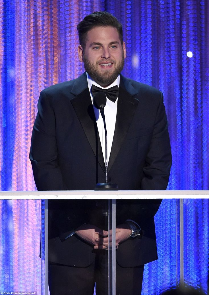 Dapper: Jonah Hill looked to be in fantastic shape as he presented...