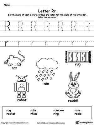 Teach the beginning letter sound by saying the name of each picture and then allow your child to trace the uppercase and lowercase letter R in this printable activity worksheet.