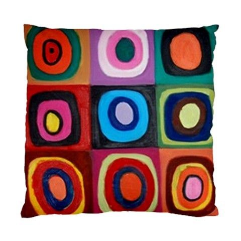 Painted Circles & Squares Multicoloured Art Double Sided Satin Cushion Cover | Bling Jewellery by Janine Antulov | madeit.com.au