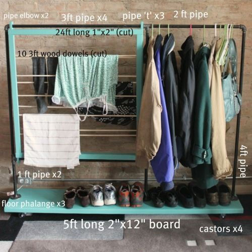 DIY Mini Closet without the Closet. For people who don't have enough closet space or have no closets this is a really good idea (could you use PVC pipe which is cheaper, or would it fall over?). Tutorial at Split the Lark here.