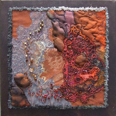 "textile beaded felt brooches (3"" long) ""silver birch"" layers of calico with silk and stitch (8""x8"") nu..."