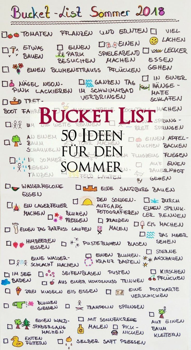 Bucket List für den Sommer – 50 Dinge die wir die…