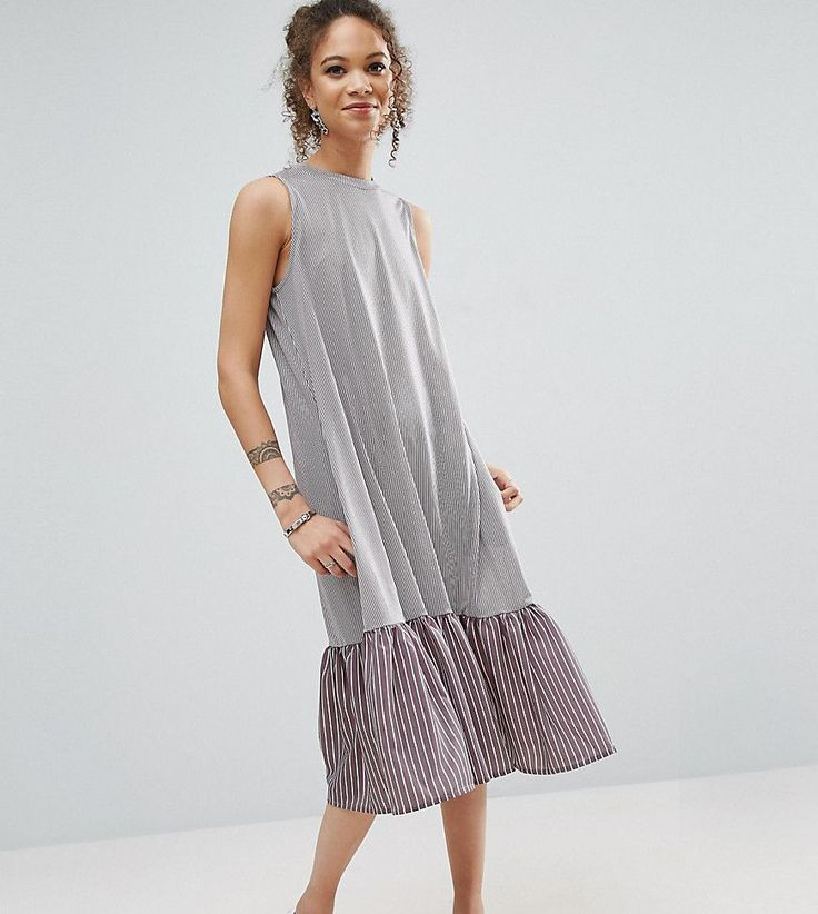ASOS PETITE Midi Dress in Stripe with Contrast Woven Frill Hem - Multi