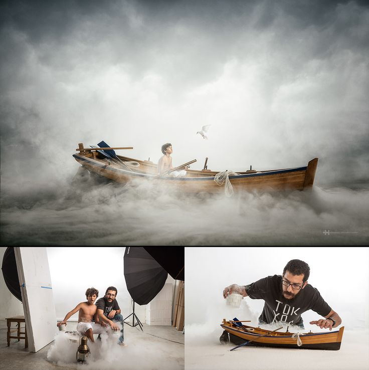 """Scale model photography combining real size """"human"""" model.shot at studio doing effects on camera."""