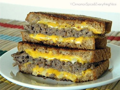 Grilled Cheese Burgers - I think this is a much better idea than using the GF burgers. The Udi's toasts fairly well.