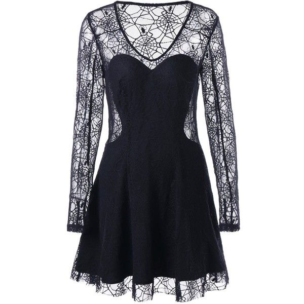 Halloween Spider Lace See Thru Dress ($23) ❤ liked on Polyvore featuring dresses