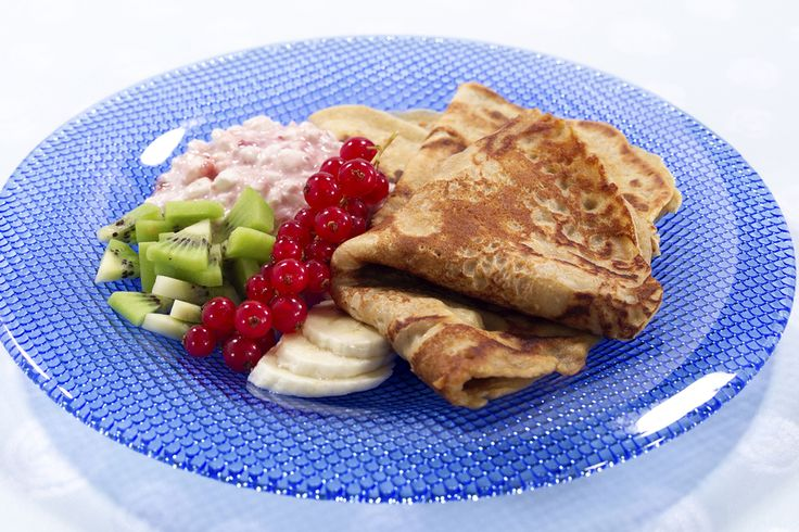 Grove pannekaker med cottage cheese