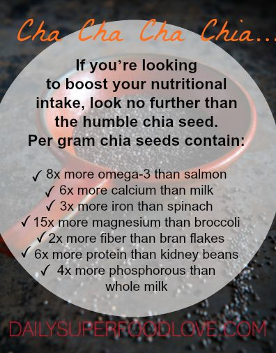 This tiny seed has many advantages over flax; it doesn't need to be ground to access the nutrients, and the seeds can be stored for long periods of time without deteriorating.  Chia is rich in omega-3 fatty acids, even more so than flax. The ALA (alpha linolenic fatty acid) that is in chia seeds is the only known essential omega-3 fatty acid that the body can't produce on its own. #chiaseeds #chia #omega3