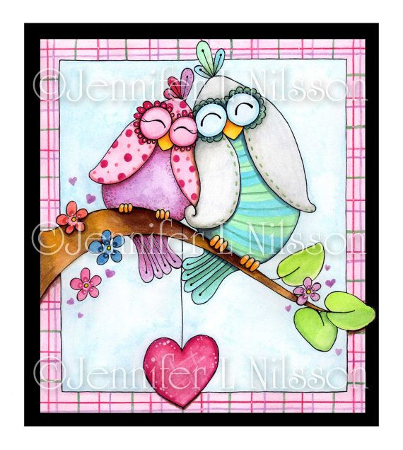I absolutely Love Owls--Love Birds Owl Art Print - Love is in the Air