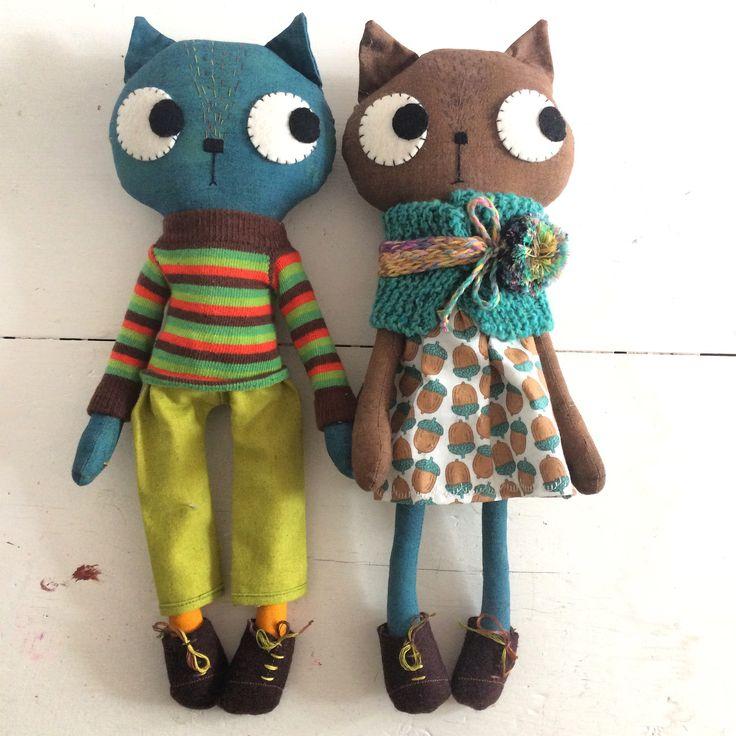 Boy and girl cloth kitty cat dolls handmade by Pinkyminky