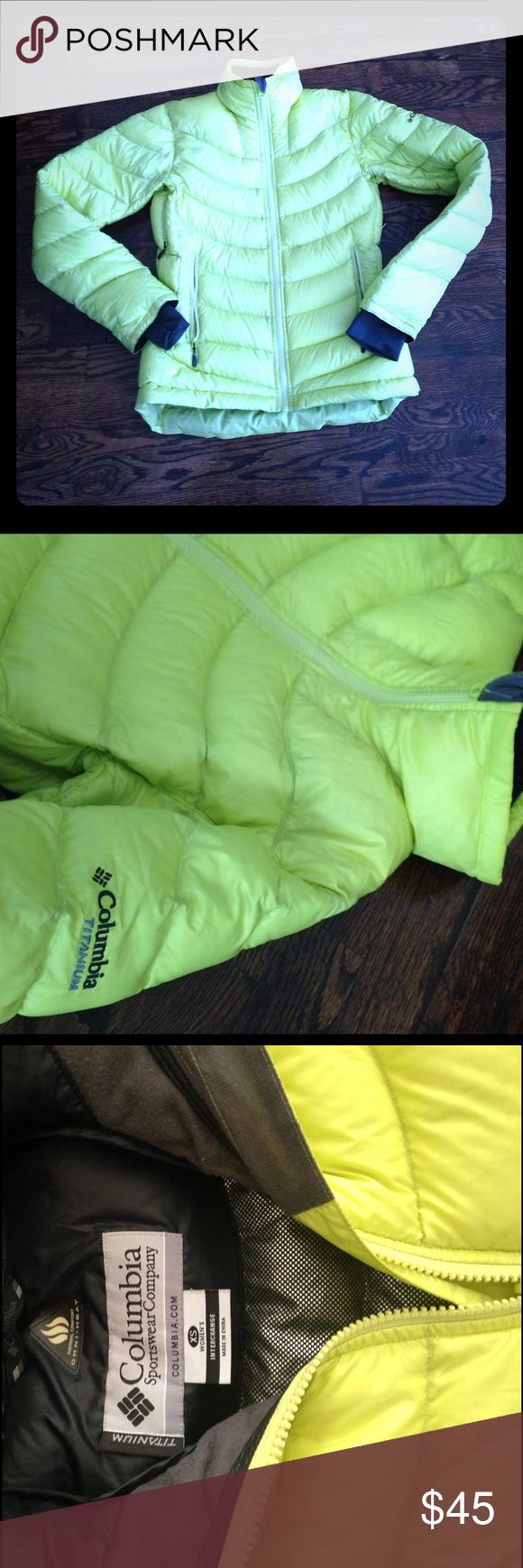 Columbia Neon Jacket Thermal Comfort Omni-Heat XS This neon interchange jacket will zip up into a Columbia interchange jacket. Has wear on sleeves but should come out in wash. Columbia Jackets & Coats Puffers