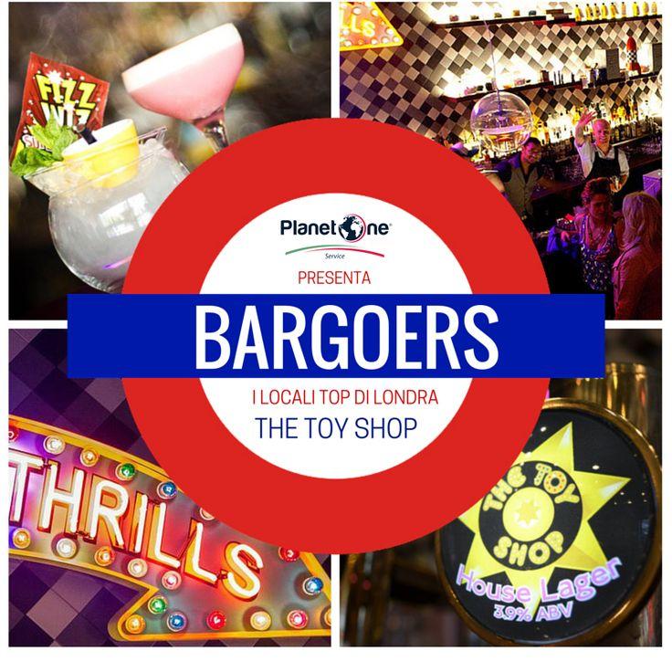 """BARGOERS: The Toy Shop Il nome del locale e la sua insegna recitano """"negozio di giocattoli"""" e il suo design e i suoi #cocktail sono degni dei capricci più fantasiosi dei bimbi.  I cocktail portano i nomi dei personaggi più noti delle favole come il The Big Bad Wolf e il Revenge of the Gingerbread Man.  Chi visita il locale in gruppo può provare il The House Party, servito in una causa giocattolo in miniatura, una vera chicca!"""