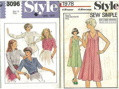 2 Vintage Style Sewing Pattern Ladies Tent Dress Blouse Shirt Top Size 10-16