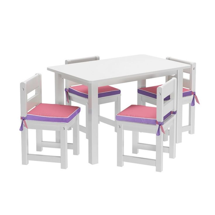PLAYTIME 36 W : Play Table with Four Chairs and Reversible Pink/Purple Seat Pads  :  White: