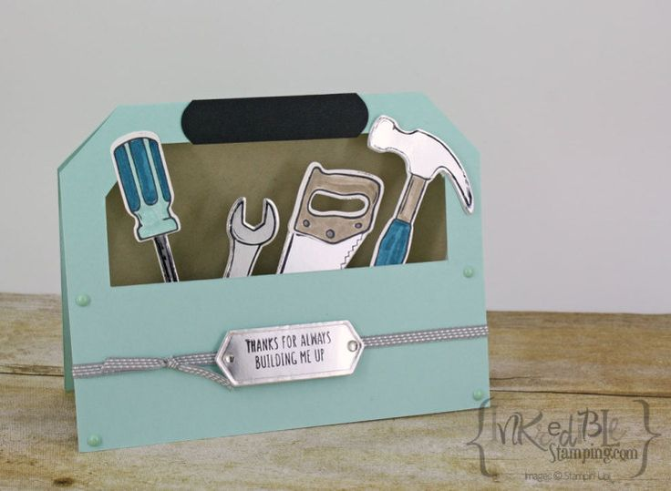 Masculine Card Making Ideas Part - 31: Turquoise Tool Box Card