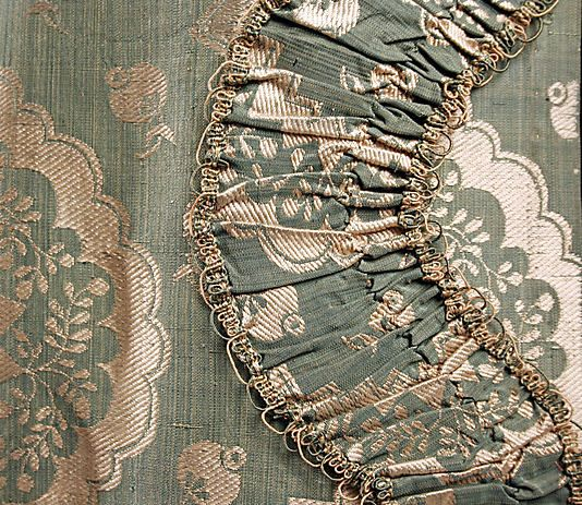 Detail trimming, robe à la francaise, France, 1750-1775. Green-blue silk brocaded with a white zig-zag design. The Met