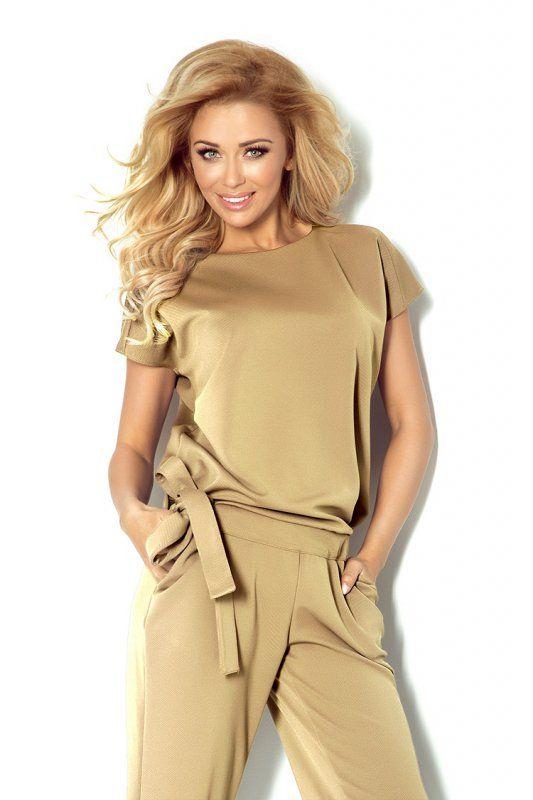 Elegancki kombinezon damski, z mniejszą rozmiarówką., #kombinezon #kobieta #moda #trendy #beż