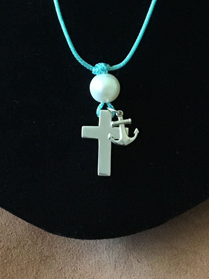 Sterling Silver Cross Anchor Necklace -Adjustable Boho Necklace  -Blue Cord with Freshwater Pearl Necklace-Cross Anchor Pendant - Handmade.