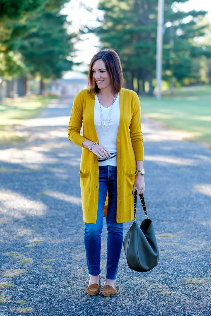 85446d13ad Today I m styling a mustard cardigan outfit with moss green bag and cognac  loafers.  fallfashion  falloutfit