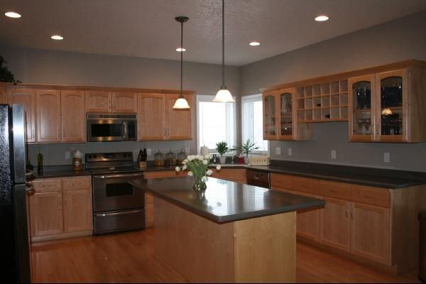 Golden Oak Cabinets Taupe Kitchen Kitchens Glidden