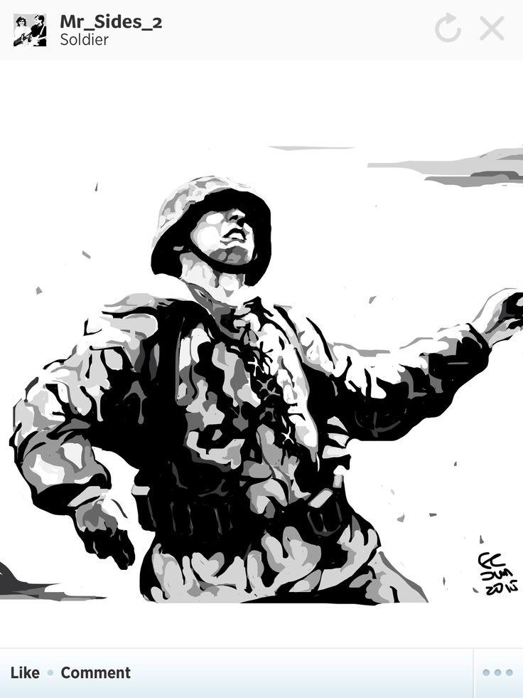 Falling Waffen SS soldier