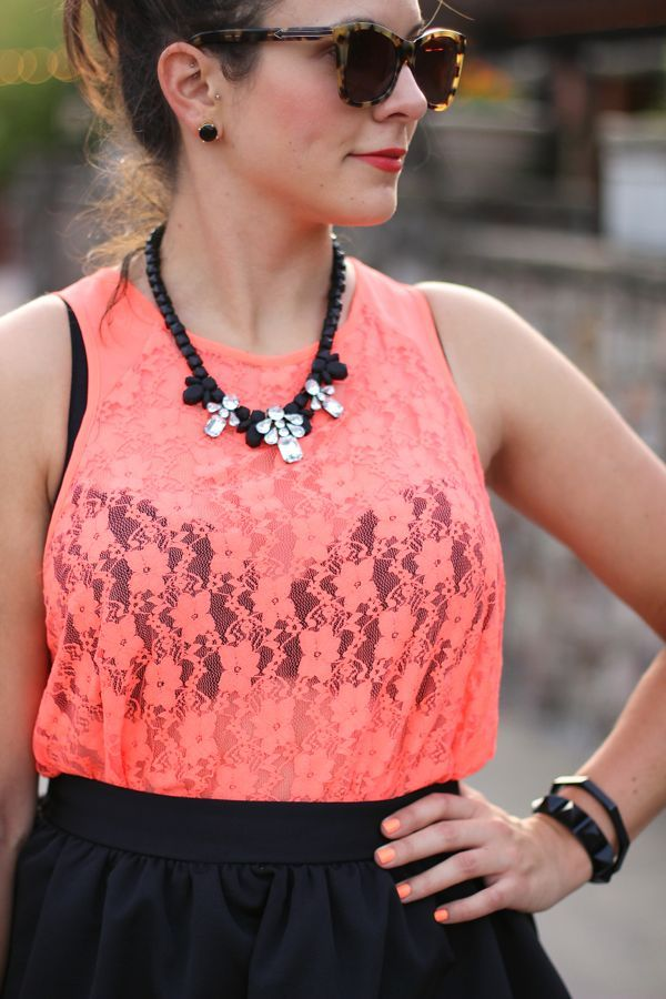 Neon Lace Top Styled By My Style Vita, @gentlefawnbrand neon lace tank, @expresslife midi skirt @jeweliq  necklace
