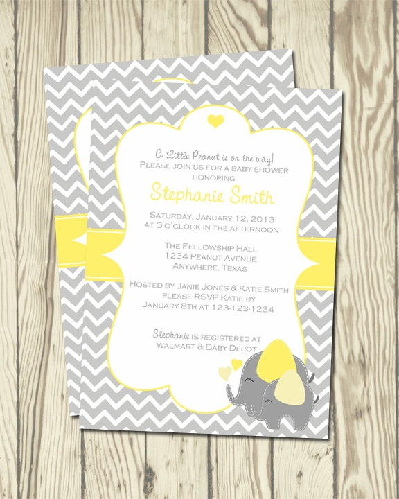 Elephant Baby Shower Invitation. $5.00, via Etsy.