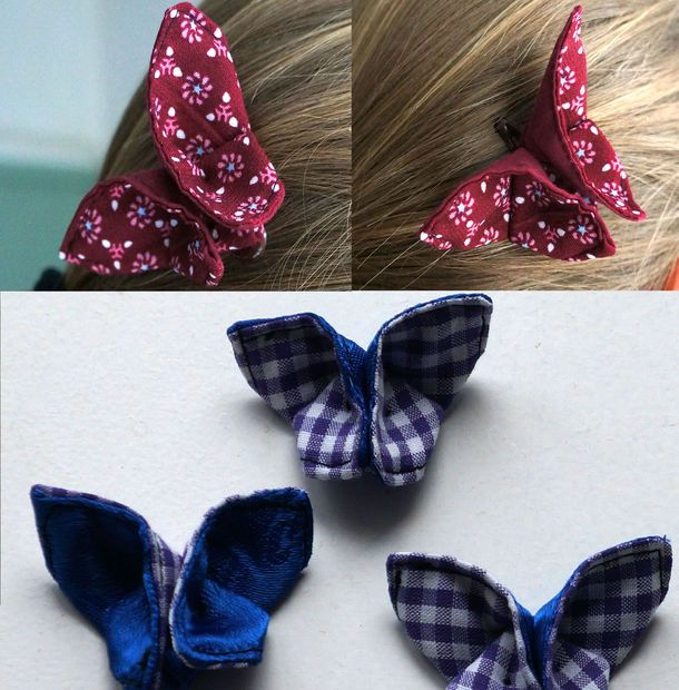 Butterfly hair clips - origami with fabric