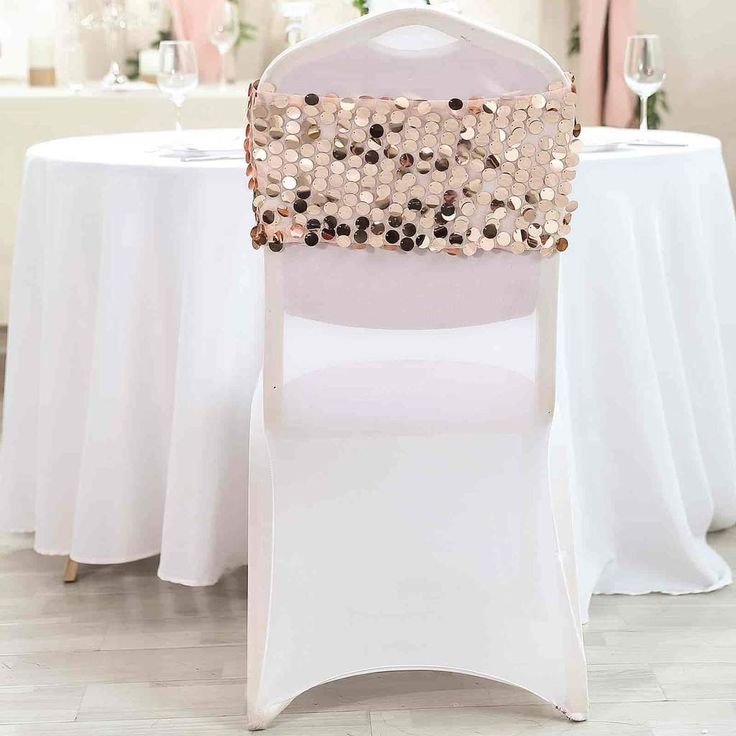 5 Pack Big Payette Sequin Round Chair Sashes Blush Rose Gold Chair Sashes Wedding Chair Sashes Blush Roses