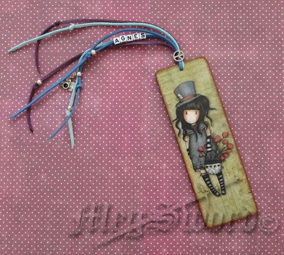 WOODEN BOOKMARK Gorjuss handmade decoupage one copy by MEGSWORD