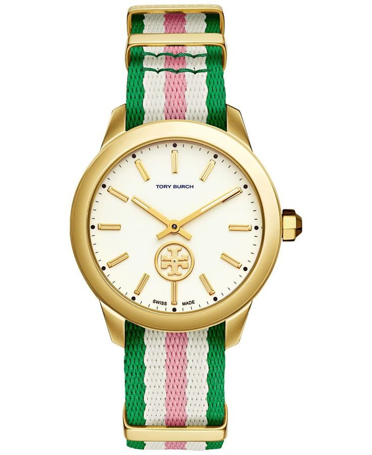 Tory Burch Women's Swiss Collins Multicolor Striped Fabric Strap Watch 38mm TB1211