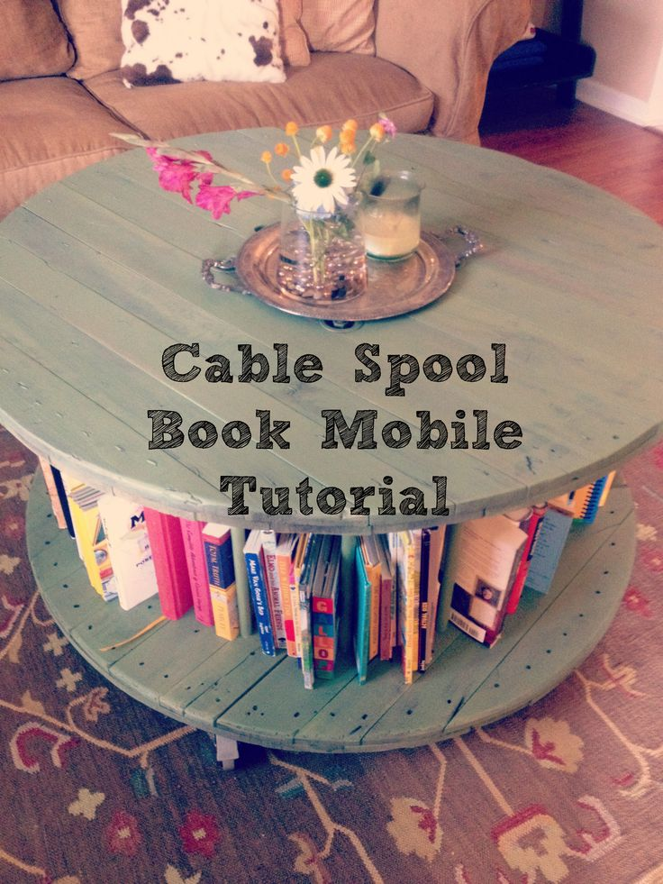 Cable Spool to bookshelf coffee table-a tutorial. Sass in Spades. | The Little Mist