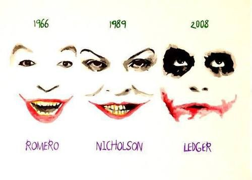 Evolution of the Joker. The make up just got bigger