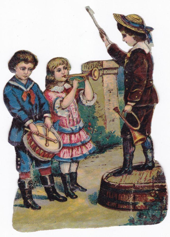 CHROMO DECOUPI GAUFRE PAPIER GLACE-enfants musiciens-hauteur 14,5 cm