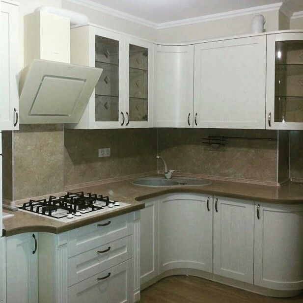 Ash tree veneer kitchen.  RAL 1013. By Daddy Andrey.