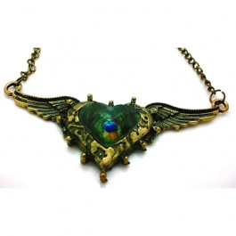 Gayle Winged Peacock Heart Necklace $12.00