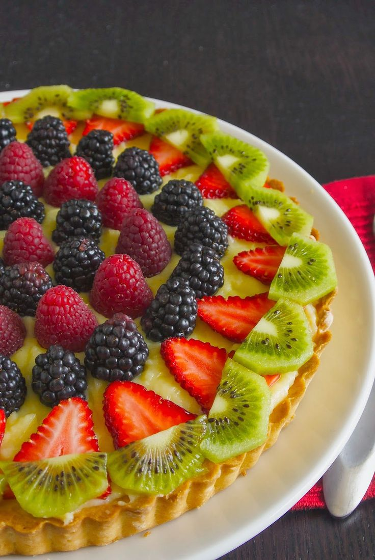 Berry custard tart. A buttery crust with English custard and fresh berries. #berries #custard #english #tart