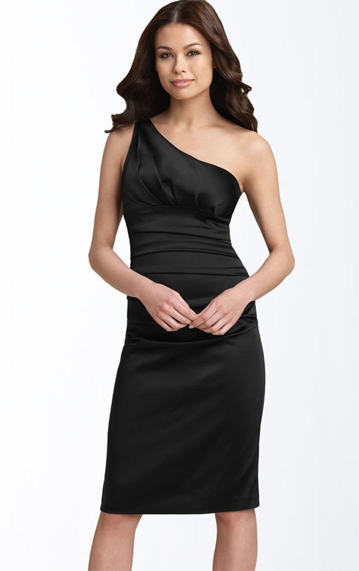 Fabulous Elegant Sheath Satin Sleeveless One Shoulder Knee length Wedding Guest Dresses Party Dresses