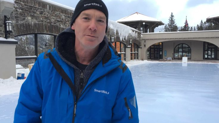 SmartRink owner Tim Oldfield goes for a skate on this newly constructed synthetic ice surface in Banff Alberta at Cave and Basin national historic site.