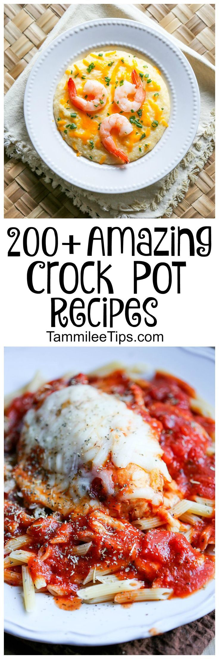 Over 200 amazing Crock Pot Recipes and meals! Chicken, soups, pastas, casseroles, breakfast, lunch, appetizers, desserts, chili and more! These slow cooker recipes are easy to make and taste amazing!