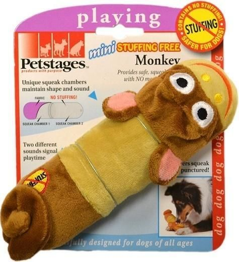 Petstages Mini Stuffing-Free Monkey Dog Toy