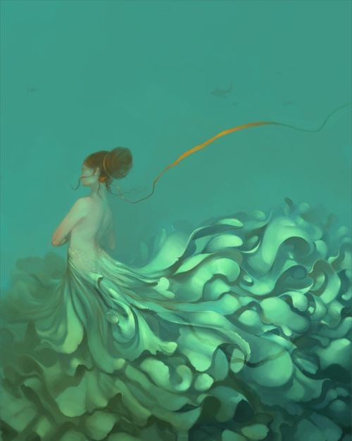 'strings attached' by jael segura: Sea Creatures, Aqua Blue, Fantasy Art, Dresses, Illustration, Graphics Design, Jael Segura, String Attachment, The Sea