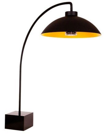 """Dome 90""""-tall standing heat lamp by Heatsail for Purificare in black aluminum and stainless steel; $6,396. purificare-us.com"""